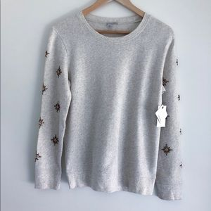 NWT Halogen crew neck embroidered sweater pullover